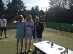 Ladies Doubles Winners Sue & Jane with John the President