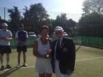 Ladies Singles Winner Suzanne with John the President